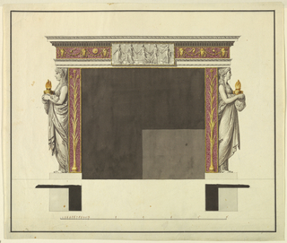 The fireplace is laterally framed by two pilaster strips of colored stone. They are framed by tori in gilded metal as is the upper edge of the opening. Fantastic plants in gilded metal are shown in the stripes. Upon the same base as these stand beside them caryatids holding lamps of gilded metal. They are shown in profile. Above is an entablature with a frieze of colored stone, with gilded metal. Bucrania hold festoons over which are objects resembling a dipper, a disk, a pitcher. IN front of the frieze and the adjoining moldings is a relief with five dancers, after the Roman relief now in the Louvre. Base line. Below are the plans and the scale (in English feet) with the figures added in ordinary ink. Framing line and stripe.