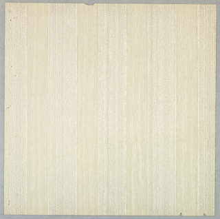 Highly textured pattern of vertical stripes with varying textures within. Printed in pale beige and off-white.