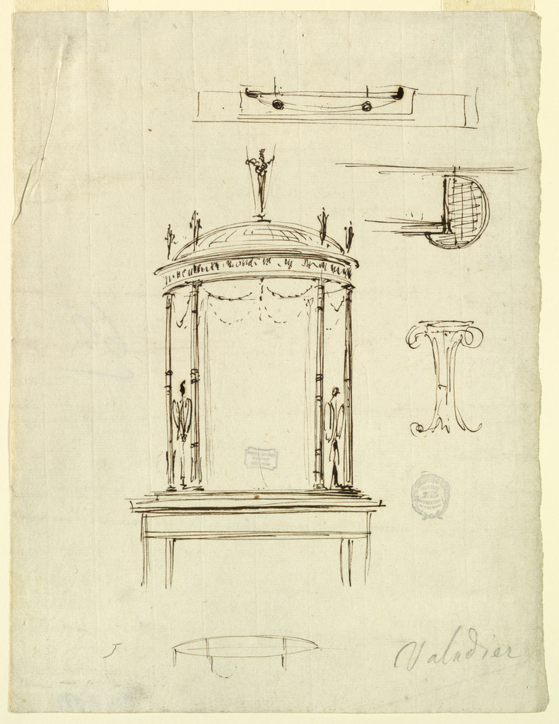 A plan of the over mantel. At center top part of the framing of the fireplace and the over mantel: a pavilion in Pompeian style with thin columns, shown in perspective. Bottom, a plan of the dome, shown in bird's eye view.