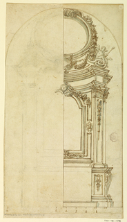 Right half of an alter shown within an arch. Scale at bottom. Right half shown. Putti sits on convex entablature, side an oval hung with a garland. Lateral pilaster hung with bellflowers.