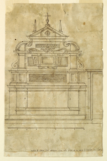 "In the central part above the mensa is a sepulchre with the body of a Saint. In front of the second story of the retable is a reliquary box with a cherub between two cornices turned outside on top. Above is a triangular pediment with two obelisks and a cross. In the panels beside the mensa are two ""A""s. At right is the left part of a door, below the scale."