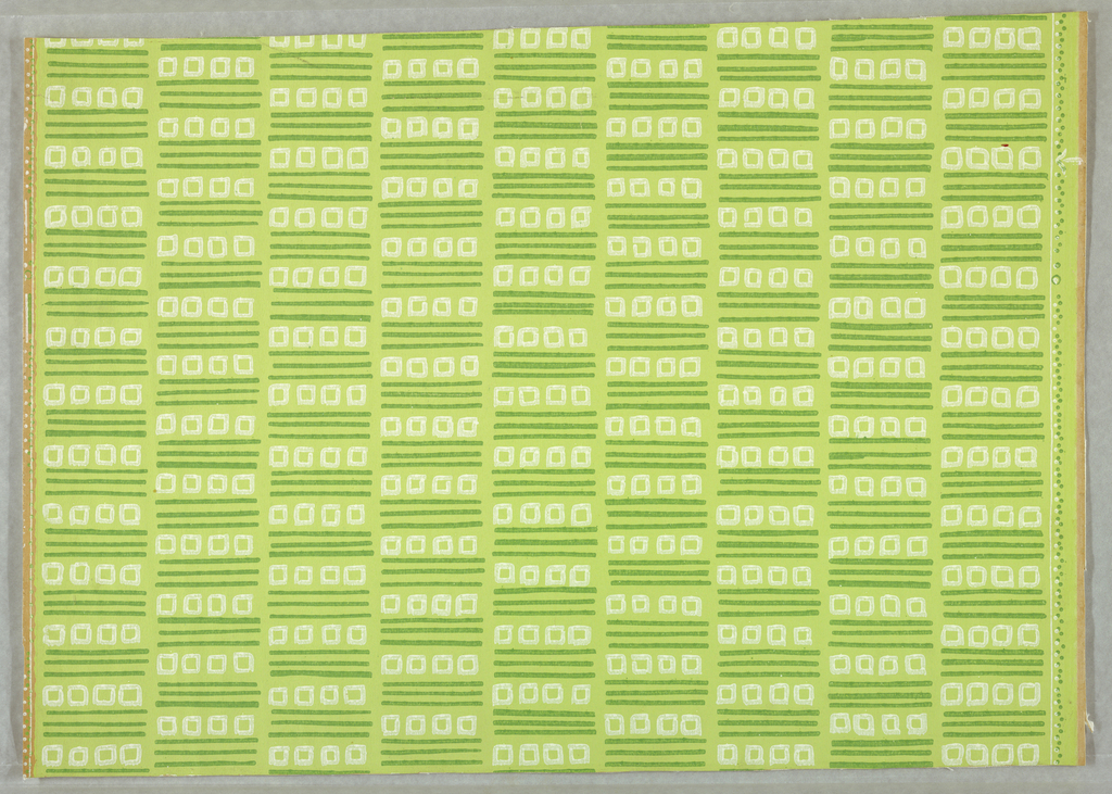 Freely drawn white squares and dark green horizontal lines in nine vertical drop-repeating columns, on pale green ground.