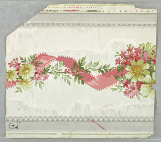 Between gray edge lines and beading, gray and white ground imitating moire silk; twisted pink ribbon, blossoms.