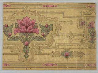 Stylized floral motif, with large-scale flower alternating with smaller floral motif. Printed in rust-color, green and browns on patterned background.