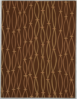 "Vertical ""strands"", resembling strung beads, printed in tan and peach on brown ground."