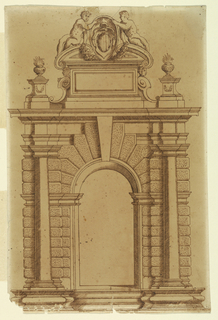 An arched doorway with a prominent keystone surrounded by rusticated stone. Engaged Doric columns on either side. Above, two figures sit on a pediment, flanking a coat-of-arms.