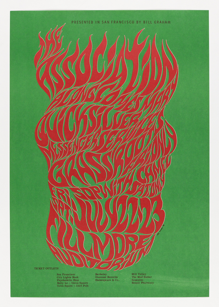 """Lithograph poster for 1966 concert in San Francisco. Green background. Red lettering with faint white outline centered on page; organic, distorted (nearly unreadable) letterforms spell out the names of bands stacked one on top of the other: The Association, Along Comes Mary, Quicksilver, Messenger Service, Grassroots, with """"Friday only"""" at the bottom. The words look almost as though they are wrapped around an cylinder. At the top, in simple black san-serif all-caps: Presented in San Francisco by Bill Graham. At the bottom, in similar simple black text, a list of ticket outlets."""