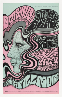 Poster featuring a face in profile, facing towards the left and covered in curving lines made up of small black dots. The face is surrounded by pink, black, and light grey streams of flowing, wavy hair. Within the hair, one can read the following text in thick, curving bubble letters: in pink, upper left: OTIS RUSH / & HIS CHICAGO BLUES BAND; in black, upper right: GRATEFUL / DEAD; center right: THE ⋮ CANNED / HEAT BLUES / BAND; in pink, center right: FR ⋮ SAT ⋮ SUN / FEBRUARY / 24 ⋮ 25 ⋮ 26 / FRI ⋮ SAT ⋮ 9 PM ⋮ $3.00 / SUN ⋮ 2 • 7 PM ⋮ $2.00; in light grey, across bottom: AT THE FILLMORE.