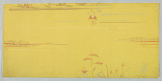"""Small clumps of flowering bushes arranged in alternating horizontal rows. Printed in red, blue and brown on mustard background. Printed on reverse side: """"7668C""""."""