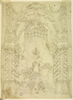 """Vertical rectangle. The """"stage"""" has the general form of a chapel, with twisted columns and curtain drawn aside. Inside a baldachino with two angels on top, support a scroll with REX REGVM. Upon clouds rests a throne, upon whose seat a crown lying upon crossed swords. Clouds with angels and cherubim surround it, referring the host in the monstrance standing above a bird with spread wings on top of the clouds."""