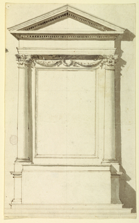 Vertical composition of an altar with festoons between the capitals. Upper left contains shadow of 1901-39-2577.