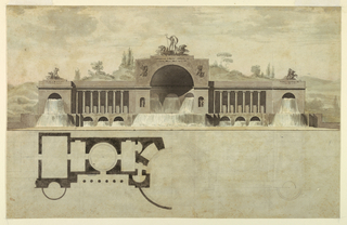 Elevation and plan of a large scale horizontal structure, an elaborate fountain.  The upper portion of the drawing depicts the elevation.  The large central archway (exedra) is embraced on either side by a colonnade (with Ionic capitals) and smaller archways (exedrae).  Sculptural decorations are positioned above all three exedrae.  The water pours from the arched openings in the dados of the colonnades and the lateral exedrae.  An outline of distant hill behind the elevation.  The plan is located below the elevation (lower portion of the sheet).  The left portion of the plan is rendered with pen and ink while the right portion is sketched with pencil.