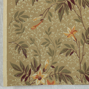 Horizontal rectangle giving a complete width. Floral pattern of bleeding heart flowers and foliage, in yellow, orange and green, with secondary pattern of leaves in white, printed on brown ground.