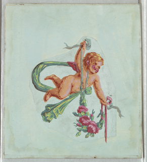 Lone figure of a putto or cherub. The figure is flying, carrying a green fabric garland and suspending a floral swag. Printed in colors on a light blue ground.