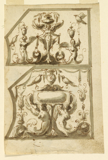 Vertical rectangle, one design above the other. the panels are pentagonal, the lower, right, upper, and topmost of the upper parts of the left edges are straight, the lower parts are convex. In the center of the upper design, half-figure of a winged woman, carrying on her head a vase with grapes. In her hands is a drapery festoon. Laterally are winged half-figures carrying vases on their heads. A bird sits on the lower rinceaux of the left figure. At upper right corner, a bird is supsended by a thread with a fish attached to it. In the lower design, two winged half-figures carry the frame of a gem. At the upper edge, a rinceau pediment with a vase sits between two birds. Drapery festoons along upper edges. Laterally are plant candelabra rising from a rinceau below.
