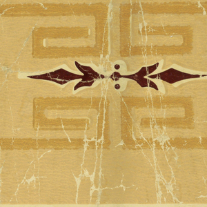 Portion of a striped paper, with wide band set with roses, flanked by meanders and narrow stripes. Printed in cream and browns on glazed cream ground.