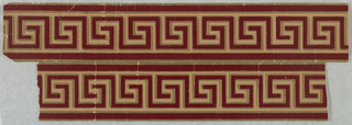 Narrow border containing a continuous Greek key motif. Printed in tan, darker tan, burgundy flock and metallic gold. This object is in two pieces, joined on the verso by gummed glassine.