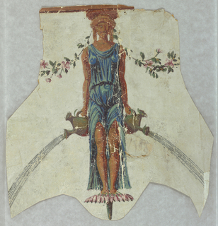 a) Figure cut-out from a wallpaper: Caryatid with watering can spurting water in each hand; b) Roses, dragon fly cut-outs from a wallpaper. In the manner of Reveillon. Printed in oranges, browns, tan, pastel blues, pinks and green on pale blue-gray ground