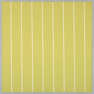 Thin vertical stripes placed 1 3/4 inches apart, printed in white on ocher ground.