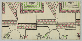 "A modern design of the period composed of rectangular frames with fancy edges. Modern motifs are in the centers. A series of archways is partially behind the rectangles. Foliage is horizontally spaced between the rows of archways. The design is outlined. The mottled field has rows of pale green dots in rows ar right angles. Printed in green, red and black on gray field. Printed on reverse side: ""No. 1454-04 Gruppe 13763A""."