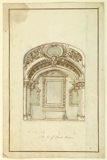 """Vertical composition of a decorated chapel with framing lines. An arch and a section of a vaulted ceiling are shown in the foreground. The ceiling is decorated with an ovoidal frame with a chest, two palms branches and two panels with twigs. The altar is seen at the back wall with a mensa and a picture fram with a triangular pediment. Niches are shown on both sides. A measurement is inscribed in the pilaster on the right. The scale at the bottom reads: """"Scala di p.mi Trenta Romani."""""""