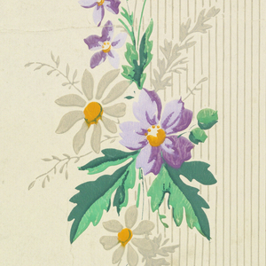 Ground alternatively plain and banded with close-set vertical stripes; drop-repeating arrangement of alternatively large and small flower clusters. Printed in colors on glazed cream ground.