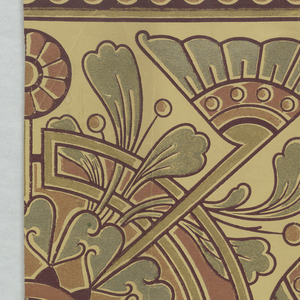 Aesthetic or Anglo-Japanesque style design. Very stylized and flat floral motifs. Printed two across. Printed in metallic green, copper and gold on a taupe ground.