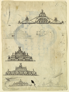 Sheet with several small designs of fantasy monuments in various configurations.