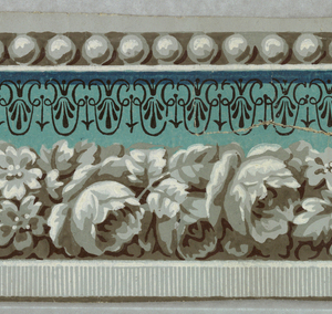 Band of pearl dentils, white blossoms on a white molding on a turquoise background with anthemia in black.