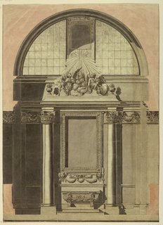Drawing, Elevation of the Outer Wall of a Chapel with an Altar, 1775–80