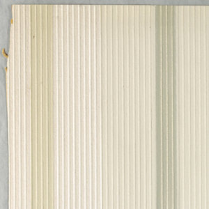 A textured paper with thin vertical stripes embossed upon wider vertical stripes of varying sizes. Printed in three shades of light green-brown and white.