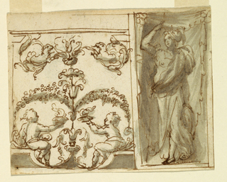 Horizontal rectangle. At let is a panel framed by pilasters and an entablature. In the center sits a plant candelabrum with rinceaux and half-figures of lions. Garlands connect the candelabrum and rinceaux below and two children sit with bowls containing fire. At the right, is an oblong with the figure of a standing, armored woman, with a spear in her right hand. The figure is shown in a niche, formed by a curtain.