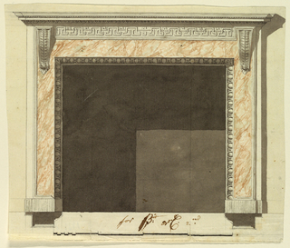 A slightly altered variation of 1938-88-8211. A fret band is shown in the frieze. The oblong is omitted. Shadow, background, base line, plans. Scale as in 1938-88-8211. Traces of the framing line at the lower edge.
