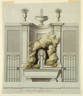 Water flows from the mouth of a lion standing in a cavern into a sarcophagus-shaped basin. Fountain framed by a niche that is topped with a fountain and two planters. At left, a locked door.
