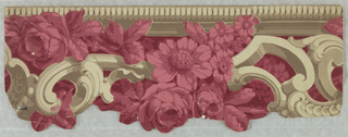 Imitation architectural molding, beading and scrollwork in shades of beige, stuffed with flowers: a) in shades of green; b) in shades of maroon; c) in shades of pink-red.