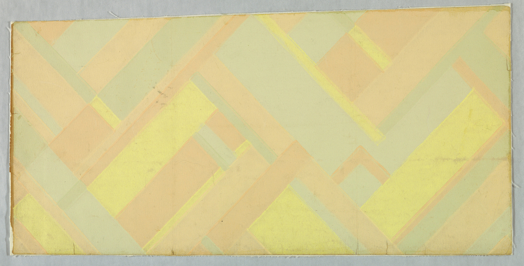 A modern design of the period composed of rectangles of assorted sizes. They are arranged in chevron formation. Printed in shades of gold, apricot and green.