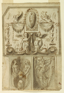 Vertical rectangle with three panels. Above is a horizontal oblong with a bevelled upper left corner. The half-figures of two children carry a lath, the central part forms one half of an oblong, in which stands a framed cameo. Beside the cameo, sit two crouched sphinxes. Below, at left, is a vertical oblong with a niche-like quatrefoil. Two female half-figures stand beside a lit candelabrum. Below, at right, is a niche with a figure carrying a spear in left hand.