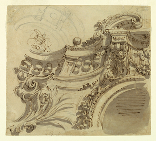 Drawing, Design for a Ceiling with Balustrade