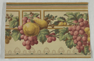 On frieze, textured tan ground, red grapes, yellow apples and pears, etc. are draped on a rectilinear framework banded in gold, green and red.
