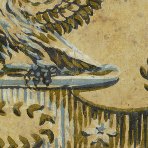 Vertical rectangle in blue, black and green, on neutral yellow field. An eagle with outstretched wings, perched upon an urn decked with flowers, holds an olive branch in his beak.