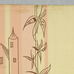 """Over the shaded stripes is printed in outline only a modernistic design of draped curtains with cords and tassels, towered buildings and a continuous vine of leaves and flowers. Printed in brown outline over background of vertical pale gold and shaded apricot stripes. Printed on reverse side: """"No. 2769-A""""."""