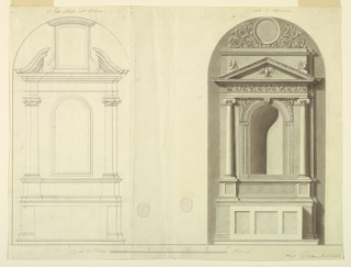 """Horizontal composition with two variations of an altar. The altar on the left, titled """"Stato attuale dell' Altare,"""" is shown only in pencil outlines. It has pilasters and a couped pediment with a high central frame. The altar on the right, titled """"Stato di riforma,"""" has three panels at the front of the mensa. The niche in the retable is framed with mouldings and acanthus scrolls in the wedges. Ionic columns on both sides support the entablature, which has a dove inside its pediment. The attic on top has two cherubim in the bottom corners."""