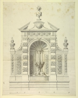 An aedicule (small temple/shrine) with a broken pediment frames a fountain. Water flows from the mouth of a mask into a shell-shaped basin supported by entwined dolphins. Scale below.