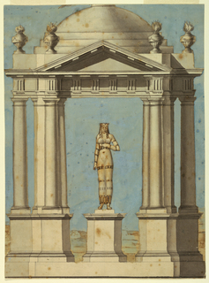Drawing, Design for a Pavilion, with a Statue in the Egyptian Style, 1800–1820