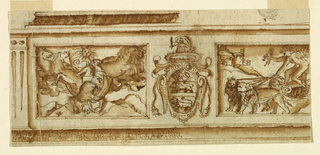 Moldings are on top and bottom, a pilaster at left. A coat-of-arms flanked by oblong representations: the Fall of Phaeton at left; Cupid in a chariot drawn by lions at right.