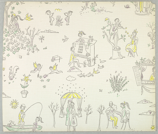 "Sample from a Wallpaper Sample Book entitled: ""Kunstler Tapeten"", which was deaccessioned. [See record for deaccessioned sample book under the accession number: 1960-116-1-u.] The original sample book contained color variations by various artists including Bele Bachem, Arnold Bode, Jean De Botton, Letizia Cerio, Salvador Dali, Lucienne Day, Cuno Fischer, Martin Freyer, Bent Karlby, Elsbeth Kupferoth, Alfred Mahlau, Raymond Peynet, Herbert Pridohl, Astrid Sampe, Renee Sintenis and Otto Steinert."