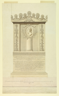Elevation view of an aedicule  in high relief. An center, a cameo profile of a left-facing man with sideburns On either side, pilasters with candelabra motifs. Below, a Greek key motif and inscription.