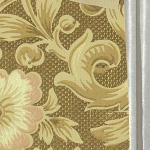 a) Sidewall: floral and grassy motifs printed in browns, pinks and blues on embossed gold ground; b) Frieze: floral and grassy motifs with band of brick-like pattern below. Printed in browns, pinks and blues on same embossed gold ground.