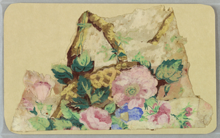 Appears to be a floral bouquet in a basket. Printed in colors on a light tan ground.