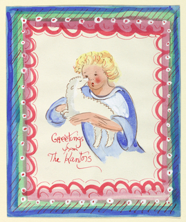 Enclosed in a decorative border, the three-quarter length figure of a child holding a lamb in his arms.